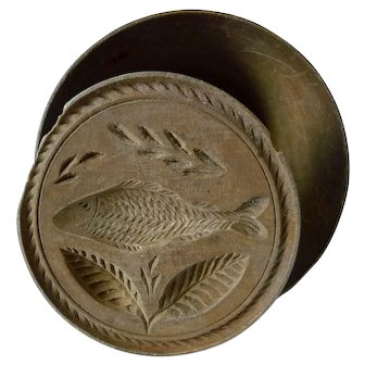 19th Century  Hand Carved Fish Wood Butter Stamp Mold Print
