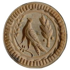 Rare 19th Century Hand Carved Butter Press, Mold Stamp Print  of a Pheasant