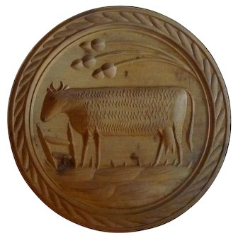 19th Century Cow Butter Stamp Mold Print Large