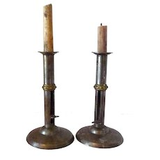 Pair of Late 18th Early 19th Century England Hogscraper Candlesticks with Brass Wedding Bands