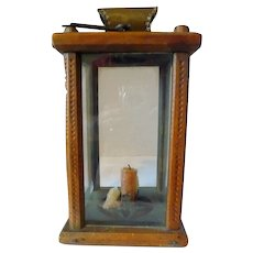 Decorated Folk Art Wood Candle Lantern 19th Century