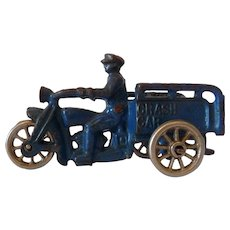 American Hubley Blue Crash Car Painted Cast Iron Harley Motorcycle 1920