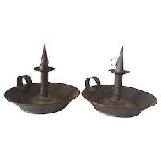 Pair of 19th Century Saucer Candle Chambersticks with Snuffers