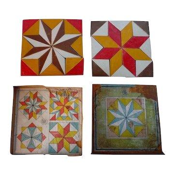Set of Star Quilt Pattern Blocks Original Box