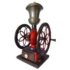 "Painted Iron Coffee Mill Enterprise #4 Brass Hopper 10"" Wheels 1873"
