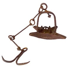 18th Century Forged Iron 4 Wick Crusie Lamp