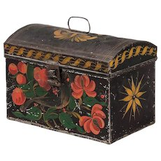 Folk Art Painted Tole Tin Document Box, Bird, 19th century.