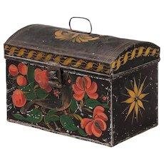 Folk Art Painted Tole Tin Document Box, Bird, 19th century.