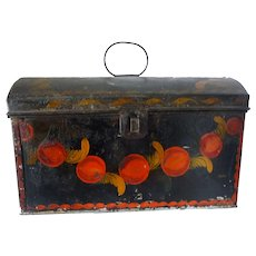 Early American Paint Decorated Dome Top Tole Document Box c 1830