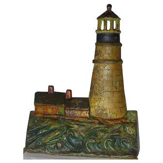 Rare Painted Cast Iron Doorstop Door Stop Gloucester MA Lighthouse Greenblatt  1925
