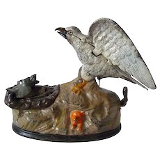 American Eagle & Eaglets Painted Cast Iron Mechanical Bank 1883