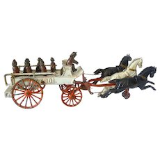 Dent Cast Iron Fire Patrol Wagon Three Horses - Six Firefighters and a Driver