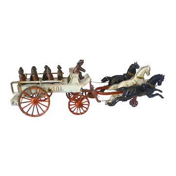 Dent Cast Iron Fire Patrol Wagon with Three Horses - Six  Seated Firefighters and a Driver
