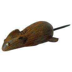 Scarce Vintage Folk Art Hand Carved Painted Wood Figural Mink 'Critter'  Ice Spear Fishing Decoy