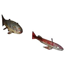 Early primitive folk art wood fish decoys for ice spear fishing