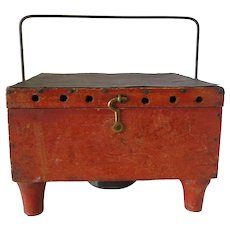 Buggy Tin and Wood Red Foot Warmer Whale Oil Stove 19th Century