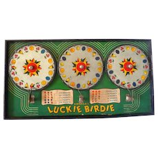 """Vintage Table Top Gotham Pressed Steel lithographed """"Luckie Birdie"""" 3 Roulette Spinning Wheel Gambling Device."""