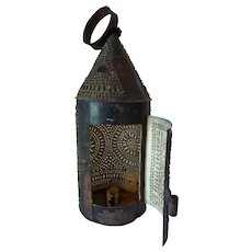 1830-1860 Pierced Punched Tin Paul Revere Barn Candle Lantern