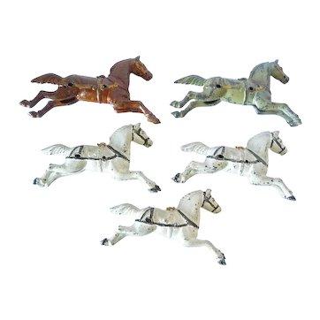Antique Painted Cast Iron Horses (5) For Fire Engine Original Paint