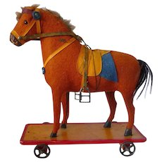 Carved Wooden Felt Covered Horse Pull Toy German