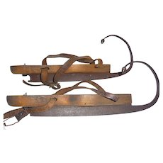 "C 1850 Antique Figure Ice Skates Forged Blades  4"" curl Brass Acorn Finials"