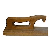 19th Century Wooden Mangle, Smoothing Board & Roller Sad Iron Horse Handle