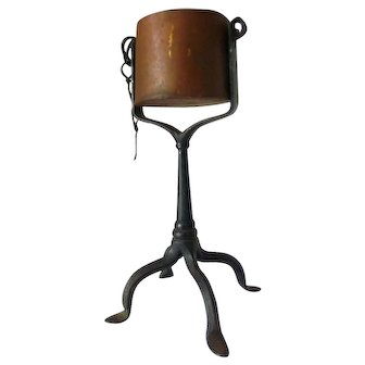 Rare 18th Century Forged Iron Kettle or Trunion Grease Lamp