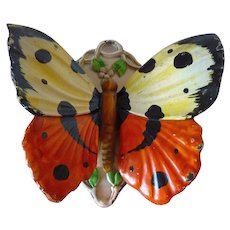 Antique Painted Cast Iron Figural Butterfly Match Safe 1920's