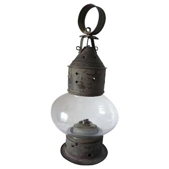 Small Tin and Glass Whale Oil Onion Lantern, mid-19th century