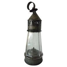 Pierced Tin and Faceted Glass Lighthouse Whale Oil Lantern mid 19th Century