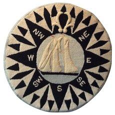 Nova Scotia East Coast Hooked Rug 'Bluenose' Ship and Compass Mounted