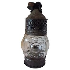 Pierced Tin and Blown Glass Bullseye Whale Oil Lantern mid 19th Century