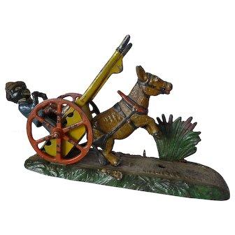 Painted Cast Iron Black Americana Bad Accident Mechanical Bank circa 1891