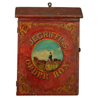 """Hand Painted Hanging Box """"Griffin Order Box"""" 19th Century"""