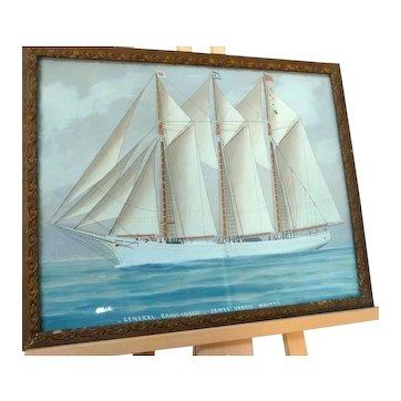 WaterColour Painting NFLD 'General Rawlinson' Ship'