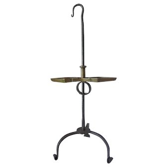 18th Century Tripod Base Adjustable Table Pan Grease Lamp Forged Iron and Brass