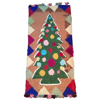Hooked Rug Colourful Christmas Tree early 20th Century