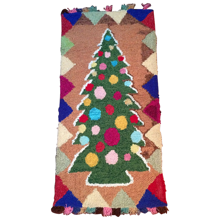 Hamilton Christmas Ornament.Hooked Rug Colourful Christmas Tree Early 20th Century