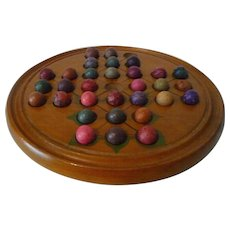 Solitaire Board Game Antique Wood with Swing Out Tray Clay Marbles