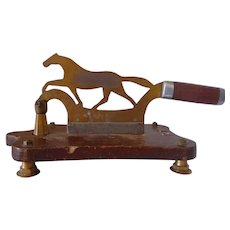 Brass Tobacco Chopper on Wood Base 19th Century
