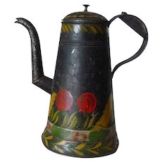 Folk Art Paint Decorated Lighthouse Toleware 19th C Coffee Pot