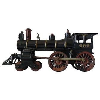 19th Century Painted Cast Iron Floor Train Engine Locomotive 999