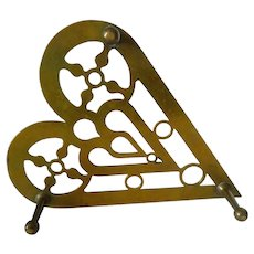 Early Antique Brass Trivet Double Heart 19th Century