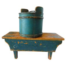 19th Century New England Painted Blue Pine Stool and Miniature Covered Tub