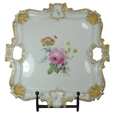 Antique Hand Painted Meissen Porcelain Serving Tray Rose Pattern Germany