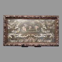 Antique Framed Hand Painted Work on Rice Paper with Dionysian Scenes France