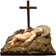 An Antique Hand Carved Wood Statue of Baby Jesus Mexico