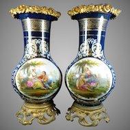 Two Antique Sevres Style Multi-Color Porcelain Vases Gold Gilded Bronze Mounts France