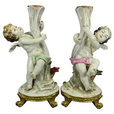 Old Hand Painted Pair of Porcelain Candlesticks with Cherubs Spain