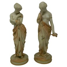 Antique Pair of Royal Worcester Porcelain Figurines Joy and Sorrow England